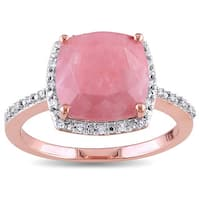 Miadora Rose Plated Silver Guava Quartz and 1/10ct TDW Diamond Halo Cocktail Ring - Pink