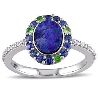 Miadora 10k White Gold Australian Blue Opal Sapphire and Tsavorite Halo Ring