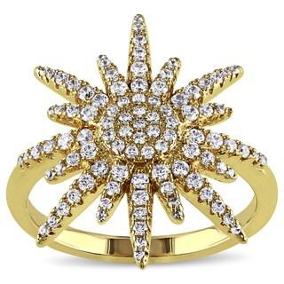 Miadora Yellow Silver Cubic Zirconia Sun Flower Ring