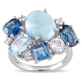 Miadora Sterling Silver Larimar with Blue and White Topaz Cocktail Cluster Ring