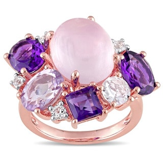 Miadora Rose Silver Rose Quartz Amethyst Rose de France and White Topaz Cocktail Ring