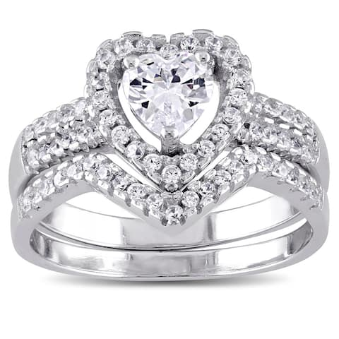 Miadora Sterling Silver Cubic Zirconia Bridal Heart Halo Wedding Ring Set - White