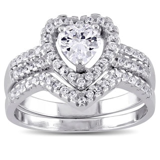 Miadora Sterling Silver Cubic Zirconia Bridal Heart Halo Wedding Ring Set