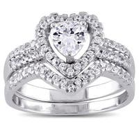 Miadora Sterling Silver Cubic Zirconia Bridal Heart Halo Wedding Ring Set - White