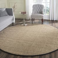 Safavieh Casual Natural Fiber / Black Seagrass Rug (8' Round)