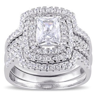 Miadora Sterling Silver Cubic Zirconia Halo Bridal Wedding Ring Set