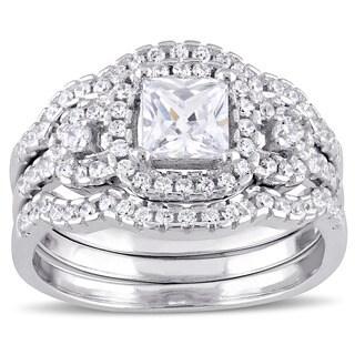 Miadora Sterling Silver Cubic Zirconia 3-stone Halo Bridal Ring Set