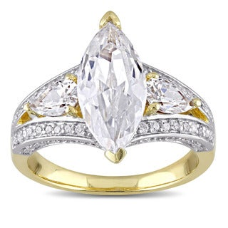 Miadora Yellow Silver Marquise Cut Cubic Zirconia Cocktail Ring