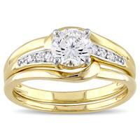 Miadora Yellow Silver Channel Set Cubic Zirconia Bridal Wedding Ring Set - White