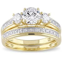 Miadora Yellow Silver Cubic Zirconia Bridal 3-stone Bridal Ring Set
