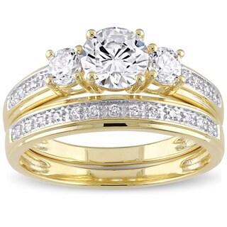 Miadora Yellow Silver Cubic Zirconia Bridal 3-stone Bridal Ring Set - White