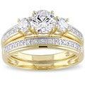 Miadora Yellow Silver Cubic Zirconia Bridal 3-stone Bridal Ring Set
