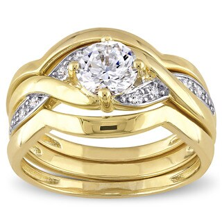 Miadora Yellow Silver Cubic Zirconia Infinity Bridal Wedding Ring Set