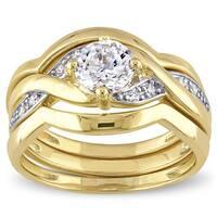 Miadora Yellow Silver Cubic Zirconia Infinity Bridal Wedding Ring Set - White