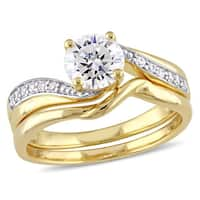 Miadora Yellow Silver Cubic Zirconia Bypass Bridal Wedding Ring Set