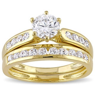 Link to Miadora Yellow Silver Channel Set Cubic Zirconia Bridal Wedding Ring Set - White Similar Items in Rings