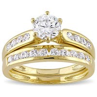 Miadora Yellow Silver Channel Set Cubic Zirconia Bridal Wedding Ring Set - White