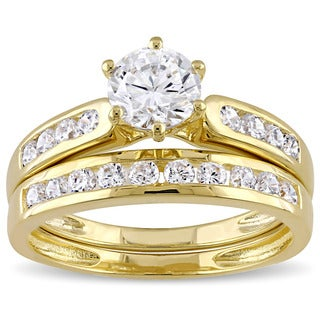 Miadora Yellow Silver Channel Set Cubic Zirconia Bridal Wedding Ring Set (4 options available)