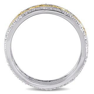 Miadora Two-tone Silver 1/10ct TDW Diamond Trilliun Mens Ring (H-I, I2-I3)