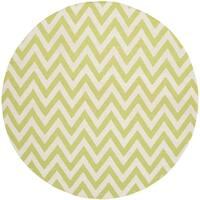 Safavieh Hand-woven Dhurries Green/ Ivory Wool Rug - 6' Round