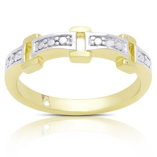 Finesque Gold Over Sterling Silver Rectangle Link Diamond Accent Ring