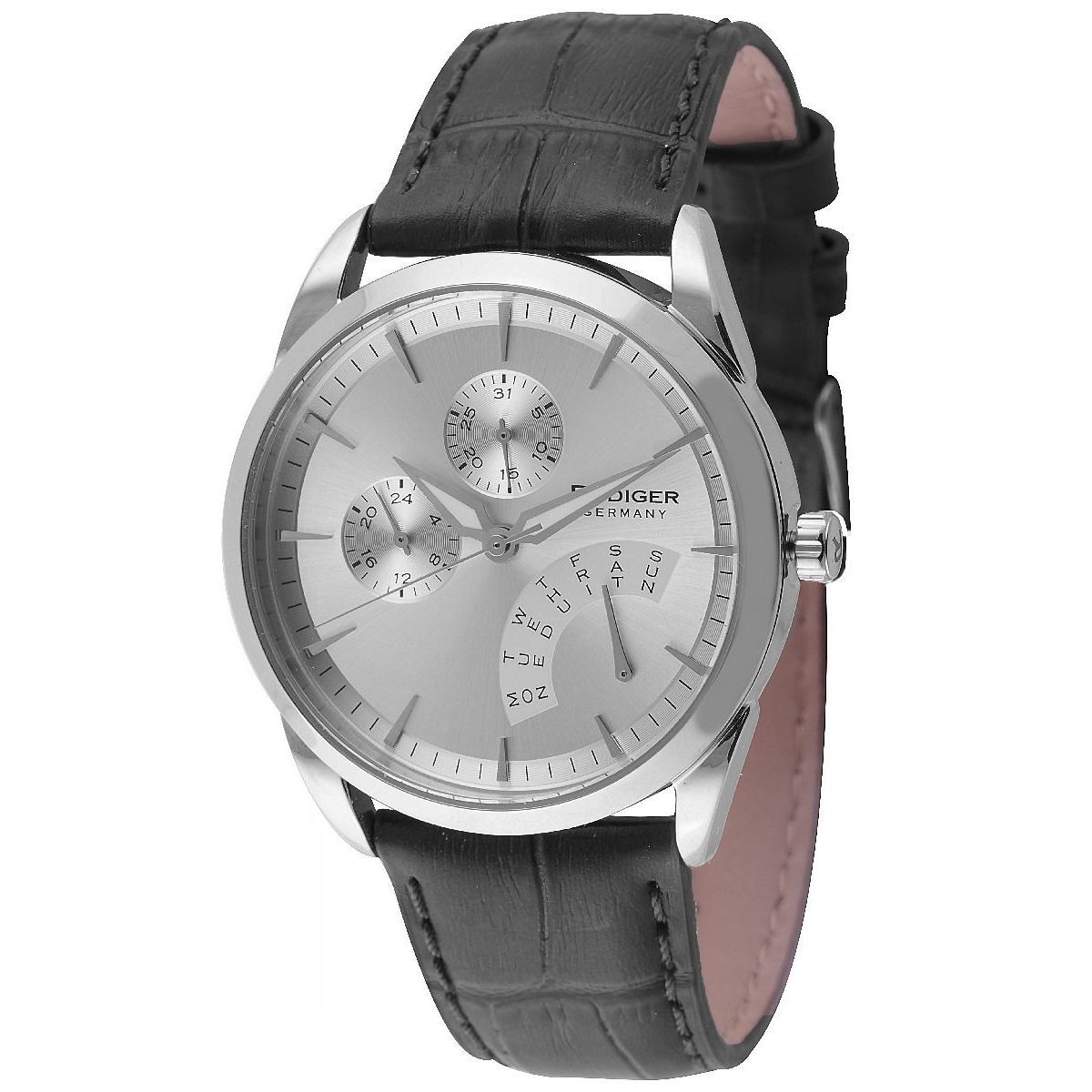 Rudiger Mens Hamelin Leather calfskin Black Watch (Black)...