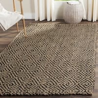 Safavieh Handmade Natural Fiber Diamond Geo Natural/ Black Jute Rug - 7' x 7' Square