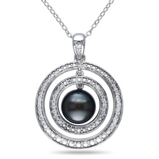 Miadora Sterling Silver Tahitian Black Pearl and Diamond Accent Circle Halo Necklace