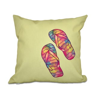 Rainbow Flip Flops Geometric Print 18 x 18-inch Outdoor Pillow