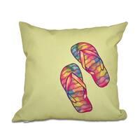 Rainbow Flip Flops Geometric Print 18 x 18-inch Outdoor Pillow
