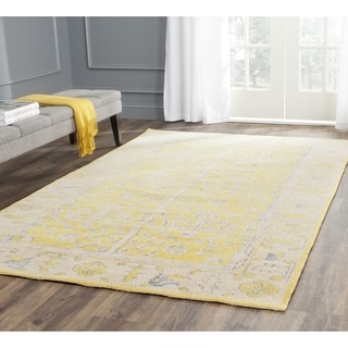 Safavieh Hand-knotted Stone Wash Yellow Wool Rug (6' Square)