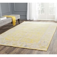 Safavieh Hand-knotted Stone Wash Yellow Wool Rug - 6' x 6' Square