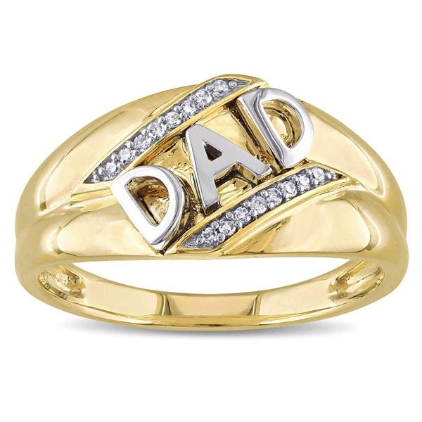 Diamond Rings Sale Dubai: Shop Miadora 10k Yellow Gold Diamond Accent Mens Dad Ring
