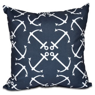 Anchor's Up Geometric Print 18 x 18-inch Outdoor Pillow