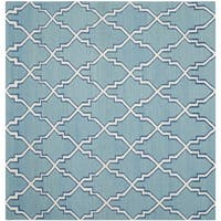 Safavieh Hand-woven Dhurries Light Blue/ Ivory Wool Rug - 8' x 8' Square