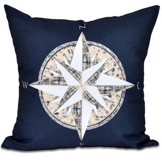 Compass Geometric Print 18 x 18-inch Outdoor Pillow