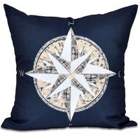 Compass Geometric Print 18 x 18-inch Outdoor Pillow