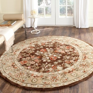 Safavieh Hand-hooked Total Perform Brown/ Green Acrylic Rug (8' Round)