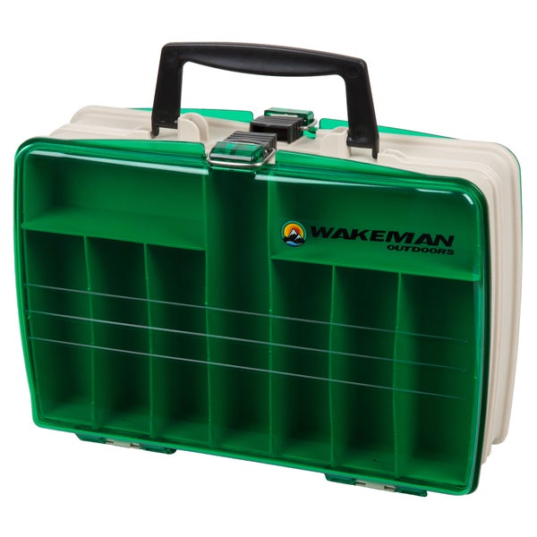 Wakeman fishing two sided tackle box 12 x 9 x 4 inches for Fishing bags walmart