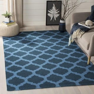 Safavieh Hand-woven Dhurries Ink Wool Rug (6' Square)