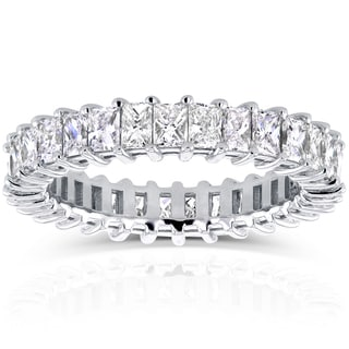 Annello by Kobelli 14k White Gold 3 1/6ct TDW Princess Baguette Diamond Eternity Band (G-