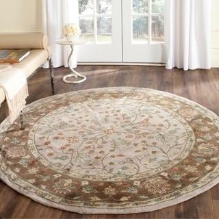 Safavieh Hand-hooked Total Perform Ivory/ Taupe Acrylic Rug (8' Round)