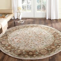 Safavieh Hand-hooked Total Perform Ivory/ Taupe Acrylic Rug - 8' Round