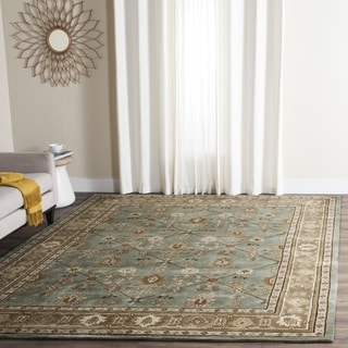 Safavieh Hand-hooked Total Perform Blue/ Taupe Acrylic Rug (6' Square)
