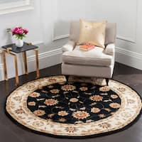 Safavieh Hand-hooked Total Perform Navy/ Ivory Acrylic Rug - 8' x 8' Round