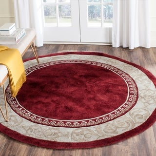 Safavieh Hand-hooked Total Perform Burgundy/ Ivory Acrylic Rug (8' Round)