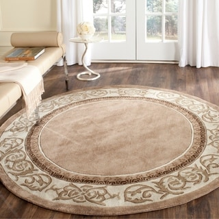 Safavieh Hand-hooked Total Perform Mocha/ Ivory Acrylic 6 Foot Round Rug (6' x 6' Round)