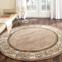Safavieh Hand-hooked Total Perform Mocha/ Ivory Acrylic 6 Foot Round Rug - 6' Round