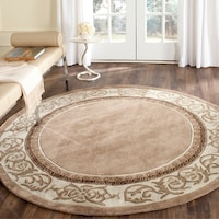 Safavieh Hand Hooked Total Perform Mocha Ivory Acrylic 6 Foot Round Rug