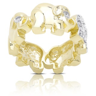 Finesque Gold Overlay Diamond Accent Elephant Link Design Ring